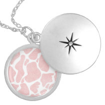 Rose Gold white Large Cow Spots Animal Print Locket Necklace