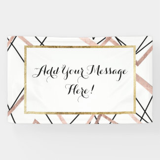 Rose Gold White Linear Triangle Abstract Pattern Banner