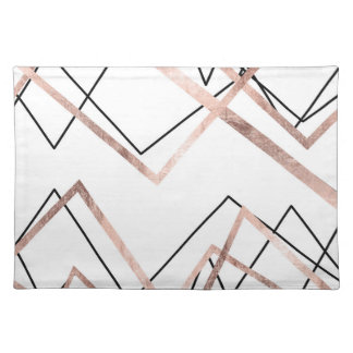 Rose Gold White Linear Triangle Abstract Pattern Cloth Placemat