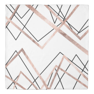 Rose Gold White Linear Triangle Abstract Pattern Duvet Cover