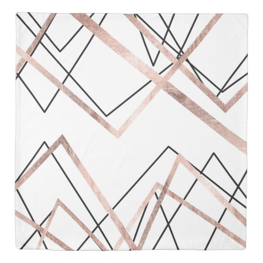 Rose Gold White Linear Triangle Abstract Pattern Duvet