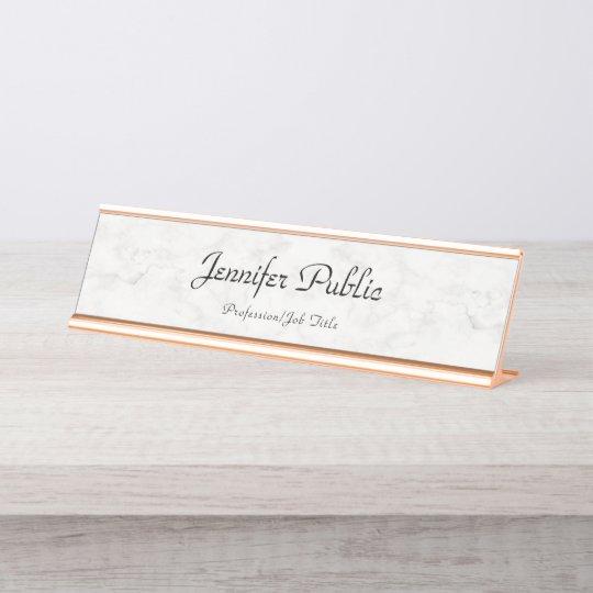 Rose Gold White Marble Modern Elegant Template Desk Name