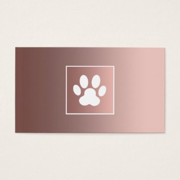 Professional Business rose gold white paw print pet business card
