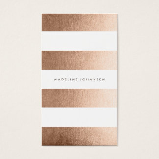Rose Gold White Stripes Hair Stylist Cards