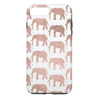 Rose gold wild elephants pattern simple iPhone 8 plus/7 plus case