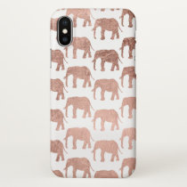 Rose gold wild elephants pattern simple iPhone x case