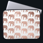 "Rose gold wild elephants pattern simple laptop sleeve<br><div class=""desc"">A simple,  stylish and modern animal pattern featuring faux rose gold foil wild elephants silhouette on a fully customizable color background.</div>"