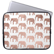 Rose gold wild elephants pattern simple laptop sleeve