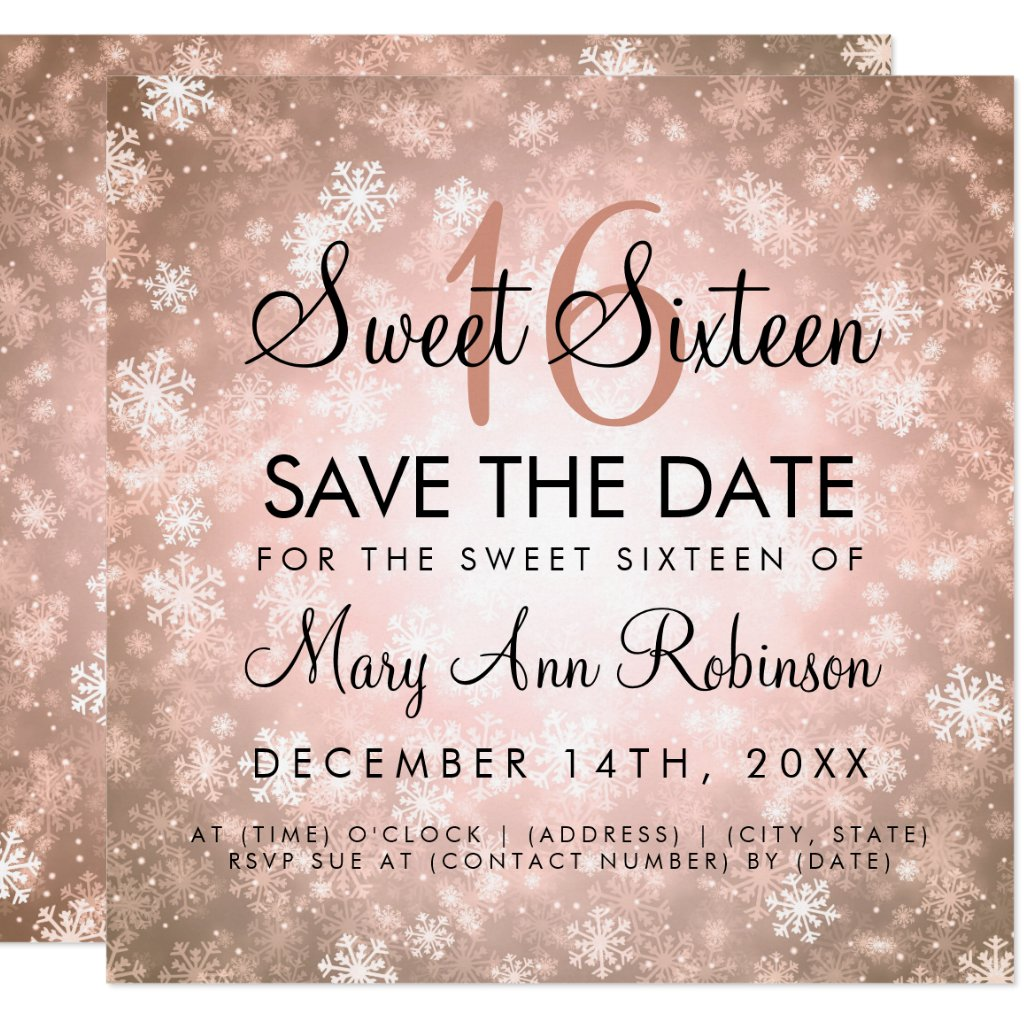 Rose Gold Winter Sweet 16 Birthday Party Invitation