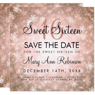 Rose Gold Winter Sweet 16 Birthday Party Invitation
