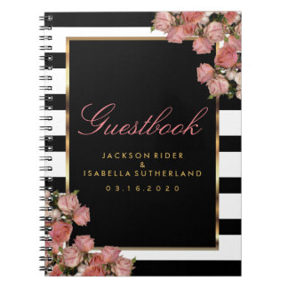 Rose Gold with Black and White Stripes - Guestbook Spiral Notebook