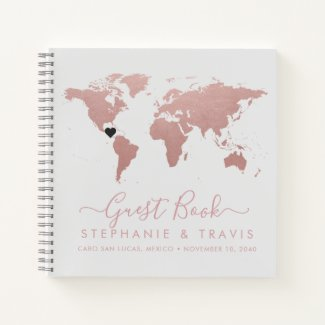 Rose Gold World Map Heart Destination Guest Book