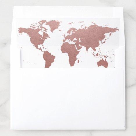 Rose Gold World Map Pink Envelope Liner