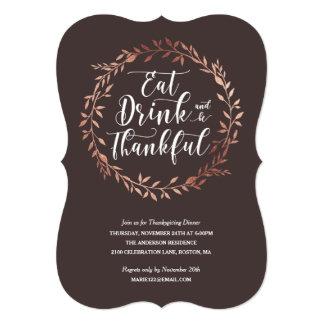 Rose Gold Wreath Thanksgiving Dinner Invitation