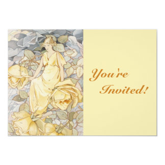 Rose Golden Goddess Garden Party Card