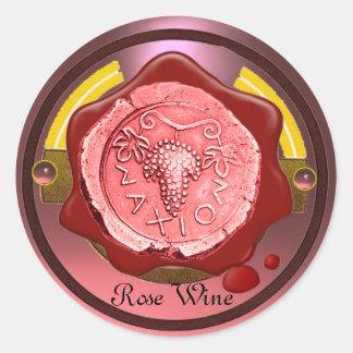 ROSE GRAPE WINE RED WAX SEAL ROUND STICKER