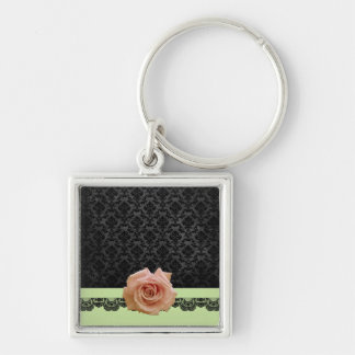 Rose Green Black Luxury Damask Keychain Keychain