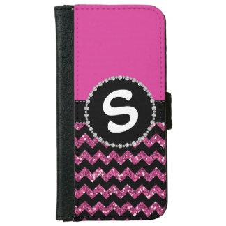 Rose Half Glitter Chevron, Diamond Ribbon Flap iPhone 6 Wallet Case
