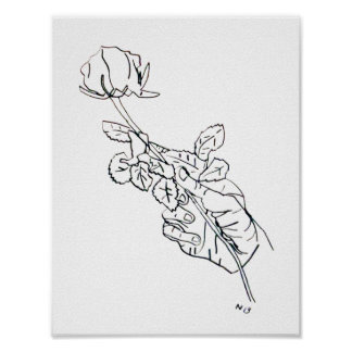 Rose Hand Line Drawing Poster