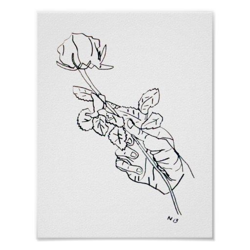 Line Art Posters : Rose hand line drawing poster zazzle