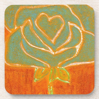"""""""Rose Heart #4"""" Floral Coaster Set"""