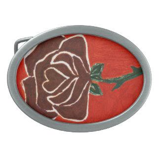 """""""Rose Heart #7"""" Floral Belt Buckle"""