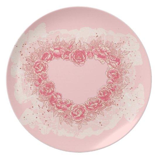 Rose Heart Dinner Plate