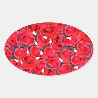 Rose heart effect oval sticker