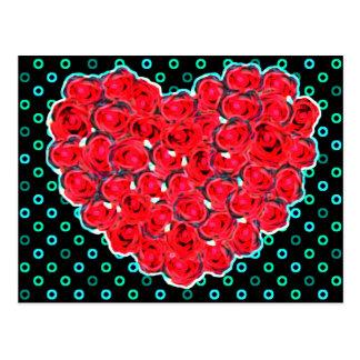 Rose heart effect postcard