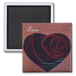 Rose Heart-Love 2 Inch Square Magnet