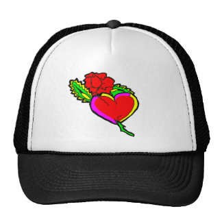 rose heart mesh hats
