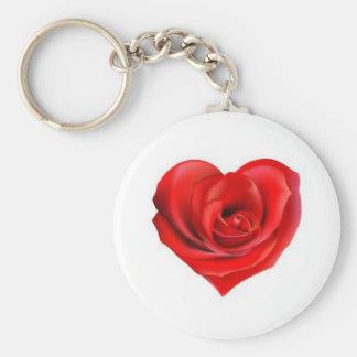 Rose Heart of Love Basic Round Button Keychain