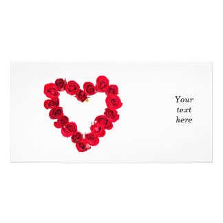 Rose heart personalized photo card