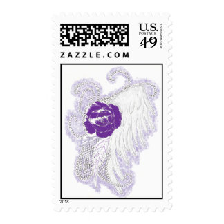 Rose Heart Purple Stamp