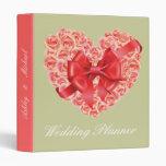 Rose Heart Red Ribbon Wedding Planner Binder