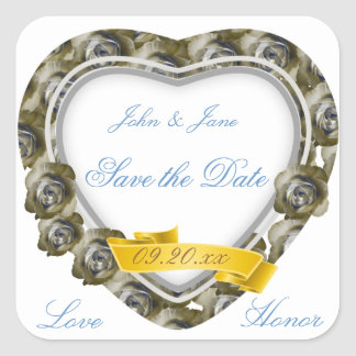 """Rose Heart """"Save the Date"""" (Sepia) Sticker"""