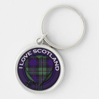 Rose Heart Tartan design - I love Scotland Silver-Colored Round Keychain