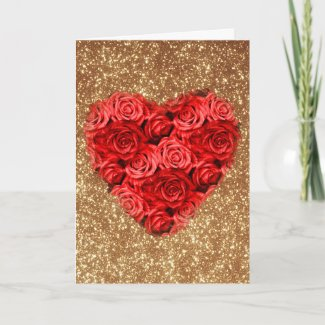 Rose Heart Valentine, Gold Glitter Holiday Card