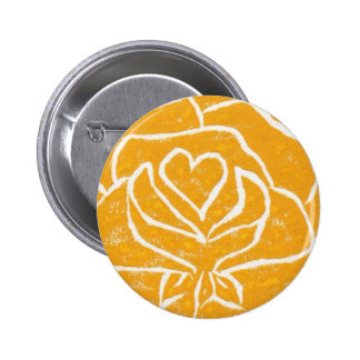 """""""Rose Heart Yellow"""" Floral Button"""