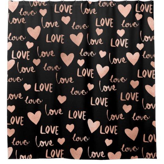 Rose Hearts Love Script Black Fancy Valentine Shower Curtain