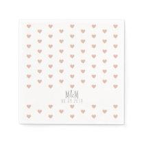 rose hearts pattern on white wedding napkin