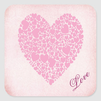 Rose Hearts Square Sticker