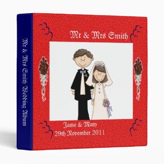 Rose Hearts Wedding 3 Ring Binders