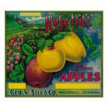 Rose Hill Apple Crate LabelWatsonville, CA Poster