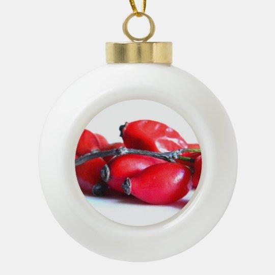 Rose Hip Berries Ceramic Ball Christmas Ornament