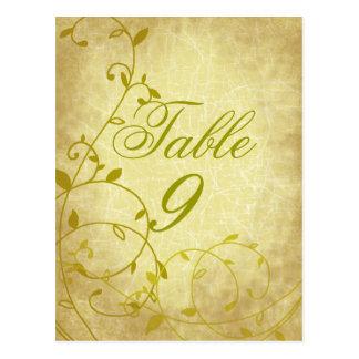 Rose II Vine Vintage Crackle Table Number Card