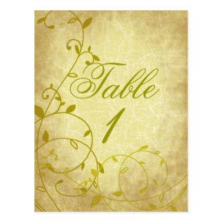 Rose II Vine Vintage Crackle Table Number Card Pos