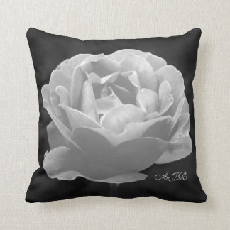 Rose In Black And White - Monogram Pillows