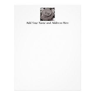 Rose in black, white & gray letterhead