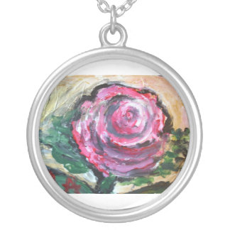 Rose in Full Bloom Round Pendant Necklace